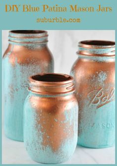 DIY Blue Patina Mason Jars via suburble.com = thinking a little green added to the mix and paired with the vintage bottles I already have would make a nice display