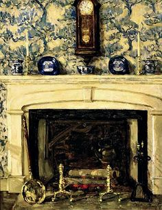 "Mary Gray: ""New England Fireplace"", Early 20th century"