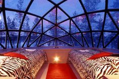Glass Igloo at the Kakslauttanen Igloo Village – Lapland, Finland. Only open between December and April each year, the glass igloo lets you sleep beneath the magical light of the aurora borealis at a comfortable room temperature.