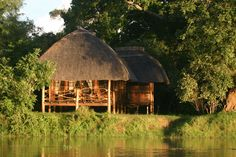 Kafunta River Lodge chalet overlooking the Luangwa River.