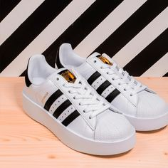 New concept baskets adidas originals superstar 8 Sneakers Fashion Outfits, Adidas Fashion, Fashion Shoes, Pretty Shoes, Cute Shoes, Adidas Superstar, Black And Gold Shoes, Sneaker Heels, Sock Shoes