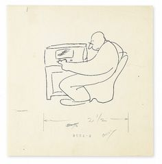 THURBER, JAMES. Ink drawing, unsigned, a cartoon for an unknown publication, / unpub / Invaluable
