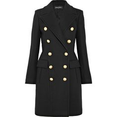 Balmain Double-breasted wool and cashmere-blend coat ($3,790) ❤ liked on Polyvore featuring outerwear, coats, balmain, double-breasted wool coats, wool cashmere blend coat, double breasted woolen coat and double-breasted coat