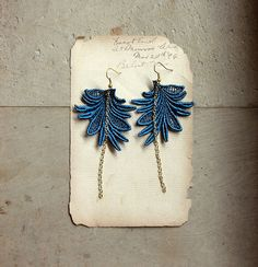 long lace earrings MARTINE  teal  feather leaf  modern by whiteowl, $22.00