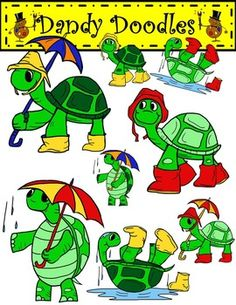 Splish Splash Turtles Clip Art has 12 PNG images (8 color and 4 BW).  Perfect for spring or any time of the year!  $