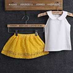 Cheap girl white, Buy Quality toddler girl directly from China white girls Suppliers: 2017 Kids Toddler Girls White Sleeveless Tops Yellow Lace Flowers Dress Outfit Suit Set Girls Summer Outfits, Kids Outfits, Yellow Lace Dresses, Yellow Skirts, Girls Formal Dresses, Casual Dress Outfits, Lace Outfit, Princess Outfits, Outfit Sets