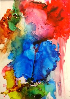 abstract art using transparencies, rubbing alcohol and alcohol-based ink
