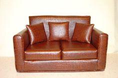 American Girl Doll Sofa - Faux Leather Alligator - Brown  Modern - Handmade - 18 inch Doll Furniture. $65.00, via Etsy.