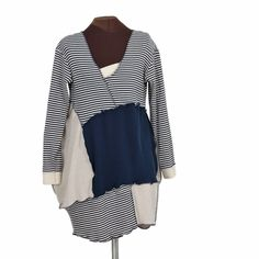 Mystery at Mossy Peat's Lighthouse: Navy and Tan Stripey Tunic - Secret Lentil Clothing