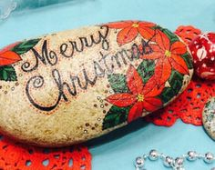 Happy Rock - Merry Christmas poinsettias - Hand-Painted River Rock