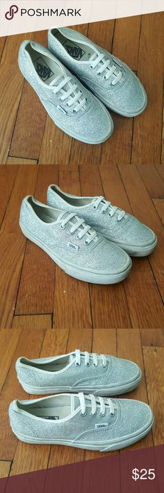 VANS SPARKLE SNEAKERS US WOMENS 5.5 VANS MEN US 4 WOMEN US 5.5 SPARKLE SILVER SNEAKERS CLASSIC KEDS STYLE AWESOME EUC Vans Shoes Sneakers