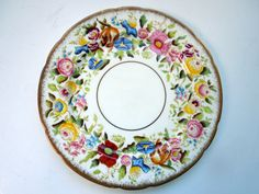 "Hammersley Floral Dinner Plate Queen Anne Chintz 9 1/4"" Hand Painted Gilded Birthday Wedding Anniversary Collector Gift Vintage by Passion4Europe on Etsy"