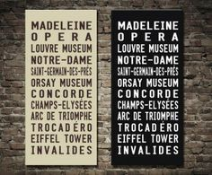 Paris Metro Destination Sign $46.00–$693.00 This vintage tram scroll replica is for Paris and is part of our collection of bus and tram scroll destination prints. All stops from Madeleine to Invalides. Paris metro destination sign art.   http://www.canvasprintsaustralia.net.au/  #Wallartonline #Wallart #Photocollageoncanvashigh