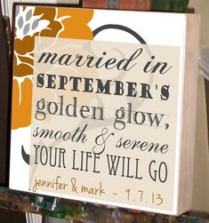 September Wedding Personalized Wedding Gift by ChocolateMooseHome, $65.00