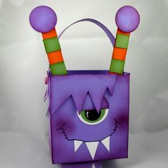 Monster Gift Box - Would be great to do to match Monster Birthday Cards
