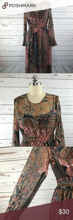 Zara Basic Boho Dress Printed Sz M Excellent condition Zara basic collection printed boho dress. Orange and neutral-colored pattern. Semi-sheer crinkled fabric with attached lining. Women's size medium  Measurements (taken with garment laying flat):  Armpit-to-armpit: 16 inches  Shoulder to hem length: 42 inches  Sleeve length: 23 inches  Waist: 12 inches   Mannequin on display is a size 4. Zara Dresses