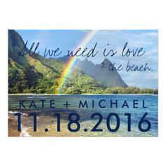 Destination Wedding Reception Cards Hawaii Rainbow Beach Eloped Wedding Announcement