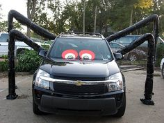 my trunk or treat spider car made with dryer hose and black garbage bags mmumc - Halloween Decorated Cars