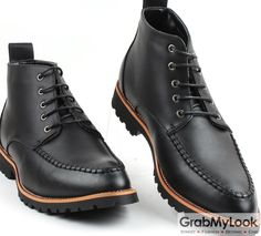 GrabMyLook Black Leather Punk Rock Lace Up Thick Sole Military Style Mens Boots Shoes