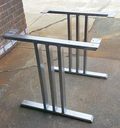 Design Dining Table Legs Three Bars Industrial Legs Set of 2