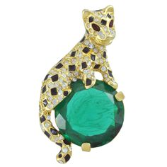 Kenneth Jay Lane Large Emerald Tiger Brooch   SOPHIESCLOSET.COM   Designer Jewelry & Accessories