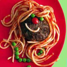 espaguetis y hamburguesa con cara