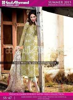 Gul Ahmed Spring Summer 2015-2016 Catalog | Trencia Satin Silk Suits - She9 | Change the Life Style