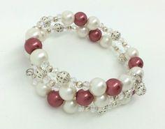 Handmade Burgundy White glass pearl silver bead  memory wire cuff bracelet