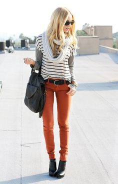 Striped Tee + Striped Long Sleeve + Orange Skinnies + #Leather Ankle Booties + #Infinity Scarf + Belt + Leather Bag + #Wayfarers