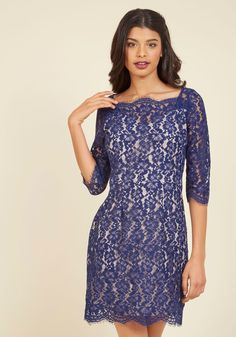 Vogue in Vienna Lace Dress in Sapphire, @ModCloth