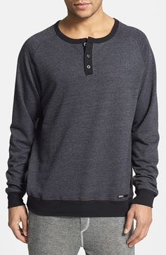 INC International Concepts Snap Crew Neck Henley Shirt Medium Indigo Wash
