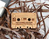 Wood laser cut brooch Retro cassette tape - Sconnie and Jam
