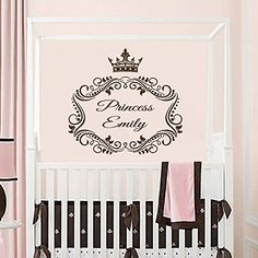 Wall Decal Name Personalized Custom Decals Vinyl Sticker Home Decor Crown Princess Frame Art Mural Nursery Girl Bedroom OP9 *** More info could be found at the image url.