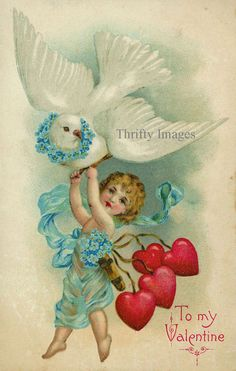 Old Valentine postcard Valentine Cupid, Valentine Images, My Funny Valentine, Valentines Greetings, Vintage Valentine Cards, Vintage Greeting Cards, Vintage Holiday, Valentine Crafts, Happy Valentines Day