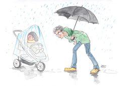 Tata z parasolem w ręce zagląda pod wózek z dzieckiem, pada deszcz.