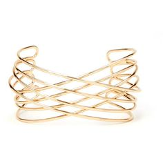 Forever 21 Crisscross Cutout Cuff ($5.90) ❤ liked on Polyvore featuring jewelry, bracelets, cuff bangle, forever 21 jewelry, forever 21 bangle, cut out jewelry and forever 21