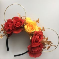 2017 Beauty and the Beast mickey ears Diy Disney Ears, Disney Mickey Ears, Disney Diy, Disney Crafts, Disney Trips, Disney Land, Dog Ears Headband, Mickey Mouse Ears Headband, Disneyland Ears