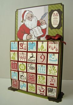 Inch Box Advent Calendar Tutorial by Qbee - Cards and Paper Crafts at Splitcoaststampers. finished calendar measures approximately 5 x 10 and the boxes are about a cube. Use SU envelope punch. Christmas Paper Crafts, Stampin Up Christmas, Noel Christmas, Christmas Projects, All Things Christmas, Holiday Crafts, Holiday Fun, Christmas Ornaments, Christmas Calendar
