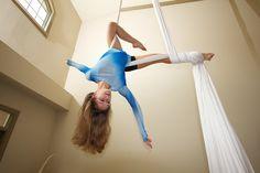 Aerial silk hang from foot lock