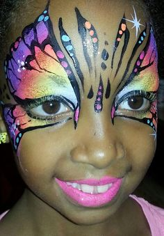 Face Painting Neon Butterfly