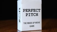 Perfect Pitch: The Made-Up Movie Game by John Van Valkenburgh — Kickstarter Perfect Pitch is a quick improv party game for 3 to 10 players. Teams take turns pitching movie ideas whose title is taken from a deck.