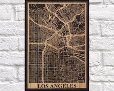 WOOD MAP print Wood wall art Travel Los Angeles city map Rustic panel effect Los…