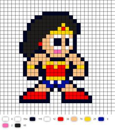 Wonder Woman Update DC Perler Bead Pattern