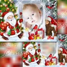 Christmas png frame   psd photo frame for for children's photo- with Santa, Christmas monkey and gifts