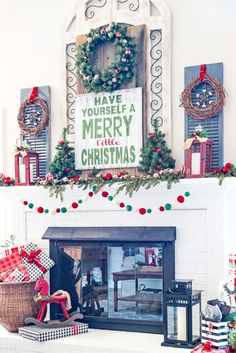 Love the old window shutters used for decorating this mantle for Christmas! - Love the old window shutters used for decorating this mantle for Christmas! Best Artificial Christmas Trees, Pre Lit Christmas Tree, Merry Little Christmas, Christmas Diy, Christmas Decorations, Holiday Decor, Outdoor Christmas, Old Window Shutters, Indoor Shutters