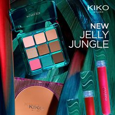 Prepare to explore a hyperreal jungle of colours, textures and formulas enriched with superfruits, with the new limited edition from KIKO MILANO: Jelly Jungle. Kiko Milano, Makati, Summer Looks, Jelly, Mascara, Eyeshadow, Lips, Make Up, Makeup Lovers
