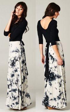 Tie dye contrast maxi dress #wearabledesign