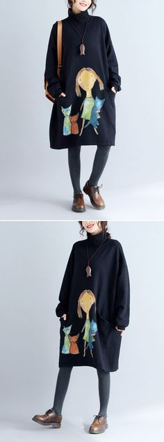 27bc05cb242  Newchic Online Shopping  48%OFF Women s Cat Printed Sweatshirt Dresses 50  Fashion