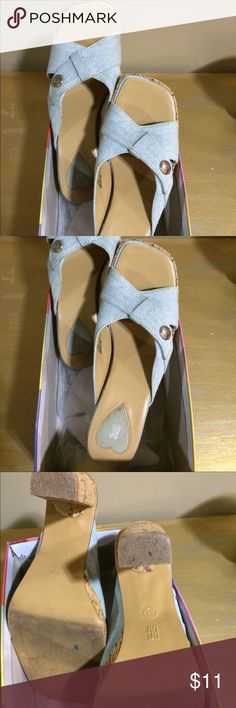 """🎉NEW LISTING🎉 Cool and sexy cork sandals size 8.5M. Heels are 4"""" but a pretty comfy shoe! Shoes Sandals"""