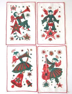 COMPLETE Set of 12 Vintage Cocktail Napkins Angel by NeatoKeen, $36.00